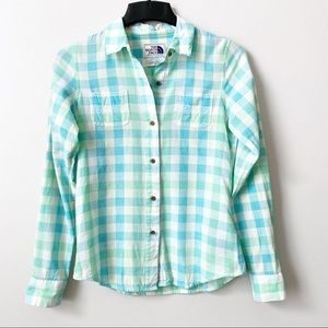 The North Face Blue Plaid Button Down Top